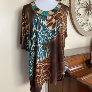Fashion Bug Size 1X One Sleeve Beaded Blouse Top